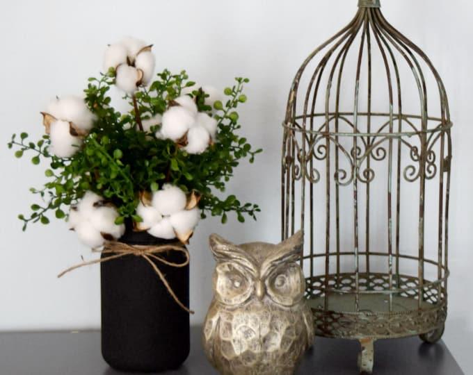 Cotton and Greenery Arrangement in Black Chalkboard Mason Jar - Farmhouse Decor
