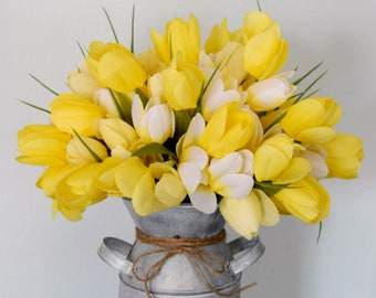 Silk Tulip Arrangement in Whitewashed Metal Milk Can - Yellow and White Spring Farmhouse Decor