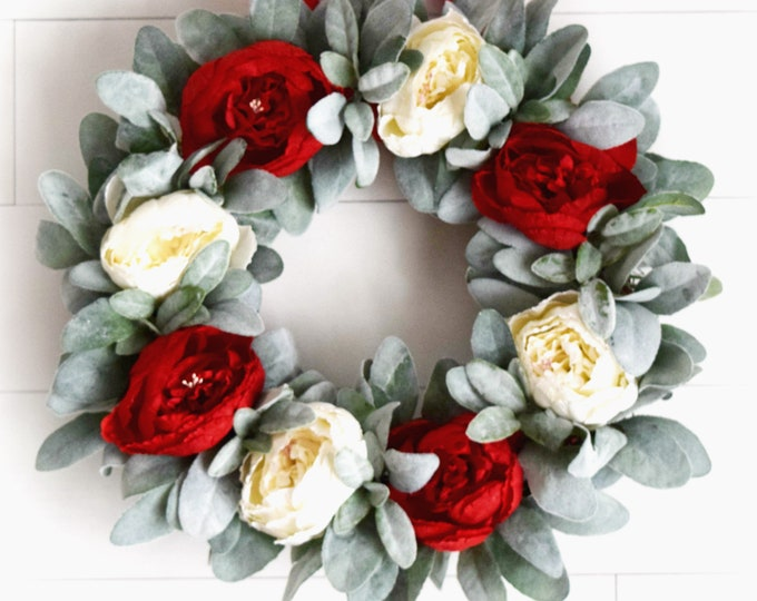 Red and White Peony and Lambs Ear Wreath