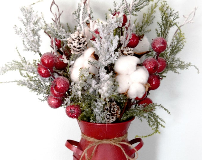 Rustic Christmas Arrangement - Pine Cotton Red Berry Holiday Floral Arrangement - Farmhouse Christmas Tabletop Decor