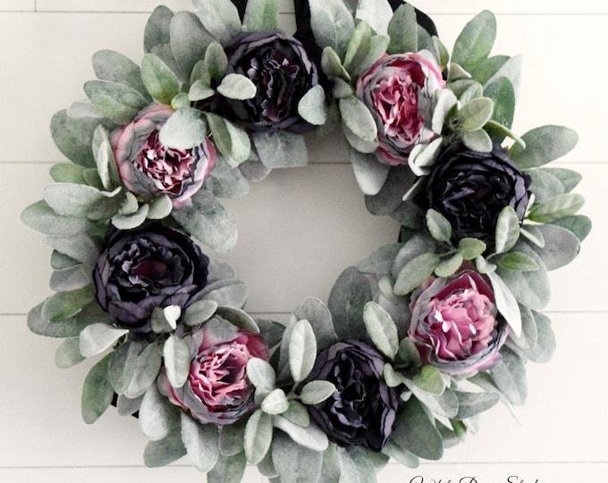 Pink and Gray Peony and Lambs Ear Front Door Wreath - Wedding or Nursery Decor Wreath