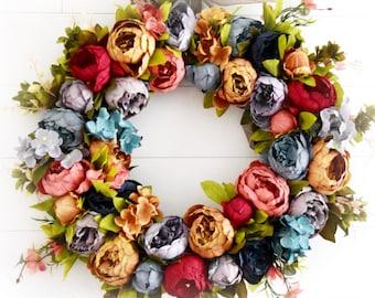 Mixed Peony Front Door Wreath - Jewel Tone Floral Peony Wreath
