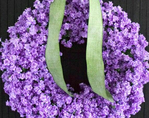 Purple Ruffle Flower Front Door Wreath