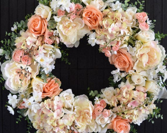 Spring and Summer Blush and Peach Mixed Floral Front Door Wreath - Ready to Ship