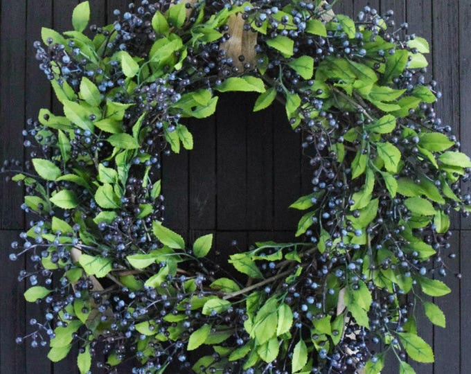 Artificial Blueberry Wreath for Front Door or Kitchen