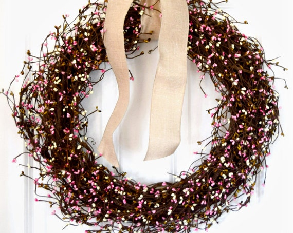 Pink Blend Pip Berry Front Door Wreath