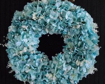 Turquoise Hydrangea Front Door Wreath
