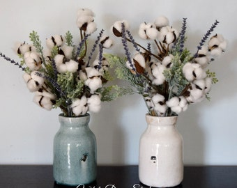 Cotton Greenery and Lavender Farmhouse Floral Arrangement in Your Choice of Vase Color - Second Anniversary Gift Idea