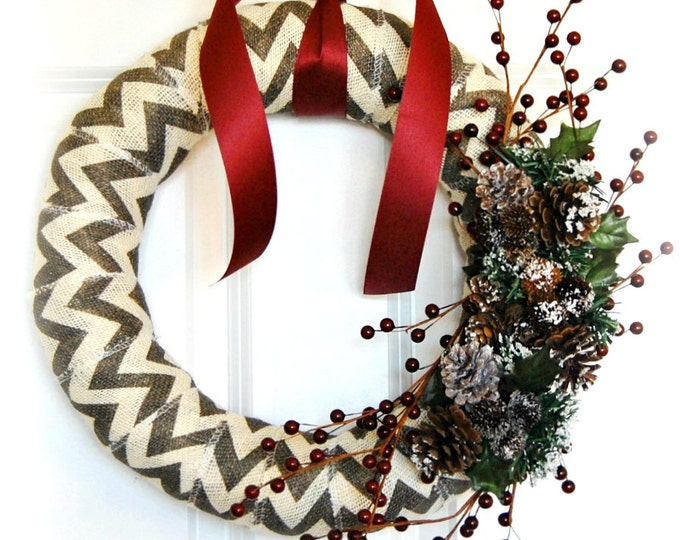 Rustic Chevron Striped Winter Wreath for Front Door