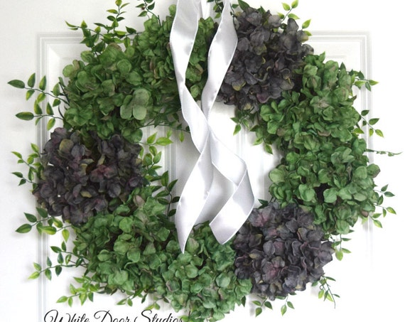 Green and Gray Hydrangea Year Round Front Door Wreath