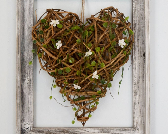 Framed Wood Heart Rustic Farmhouse Wall Decor