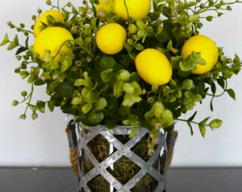 Lemons and Greenery Arrangement in Rustic Galvanized Vase
