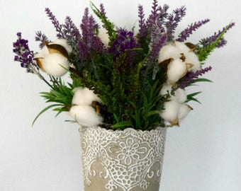 Farmhouse Lavender and Cotton Arrangement