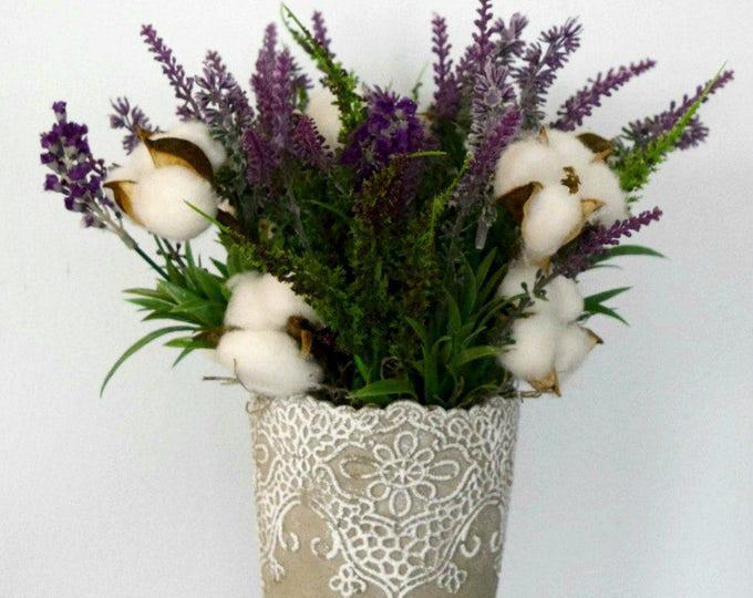 Farmhouse Lavender and Cotton Arrangement