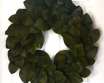 Magnolia Leaf Wreath - Rich Green
