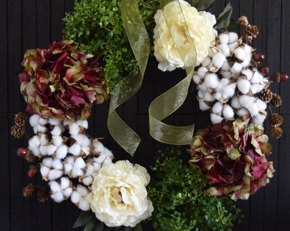 Cotton and Floral Summer and Fall Front Door Wreath - Ready to Ship