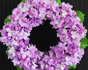 Bright Purple Hydrangea Wreath