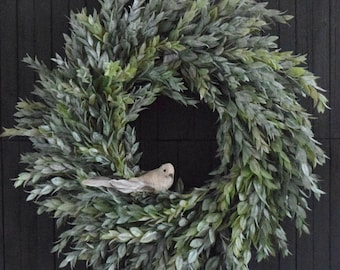Muted Greenery Year Round Front Door Wreath - Rustic Farmhouse Decor - Pantry Wreath