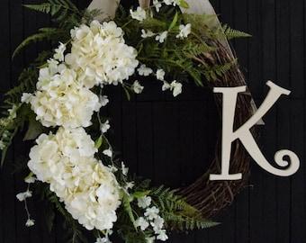Personalized Hydrangea Wreath for Front Door