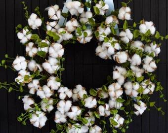 Farmhouse Cotton Stem and Eucalyptus Greenery Front Door Wreath