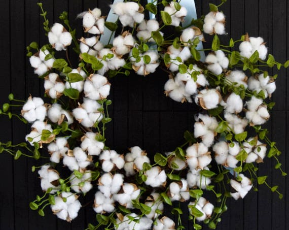 Cotton and Eucalyptus Year Round Front Door Wreath