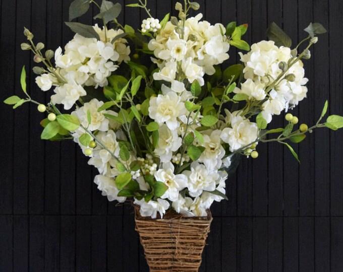 Cream Floral Door Hanger