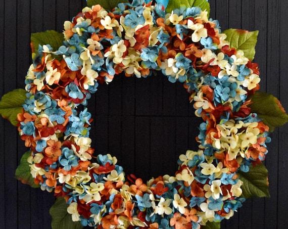 Blue Orange and Cream Blended Hydrangea Autumn Front Door Wreath