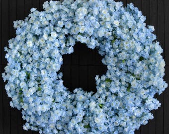 Light Blue Ruffle Flower Spring Summer Front Door Wreath