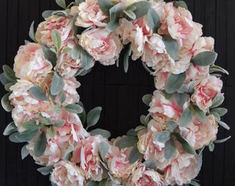 Pink Peony and Lambs Ear Year Round Front Door Wreath - Spring Wreaths - Blush Pink Wedding Decor