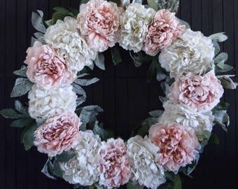 """Pink and White Peony Front Door Wreath - 22"""" Diameter"""