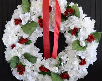 Christmas White Hydrangea and Red Rose Wreath