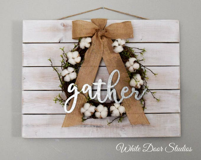 Farmhouse Pallet Wall Decor with Cotton Wreath and 'Gather' Sign