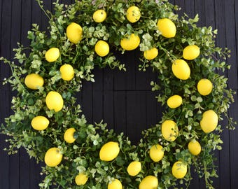 Lemons and Greenery Wreath - Front Door Wreath - Lemon Kitchen Decor