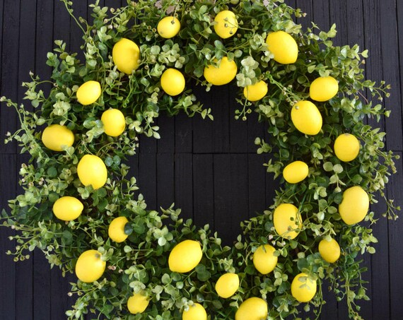 Lemons and Greenery Front Door or Kitchen Farmhouse Style Wreath