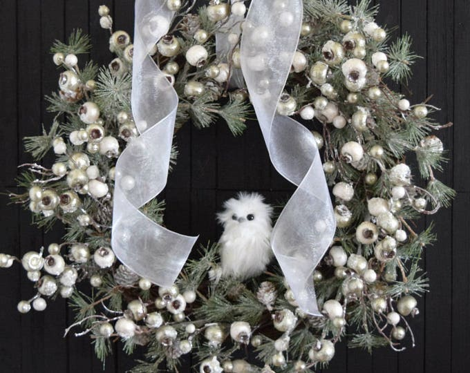 Winter Holiday Front Door Wreath with White Owl - White Christmas Evergreen Wreath
