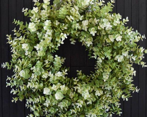 Light Green Eucalyptus Greenery Year Round Front Door Wreath