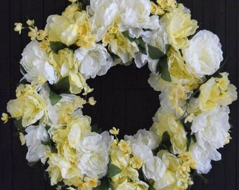 White and Yellow Spring Peony Wreath