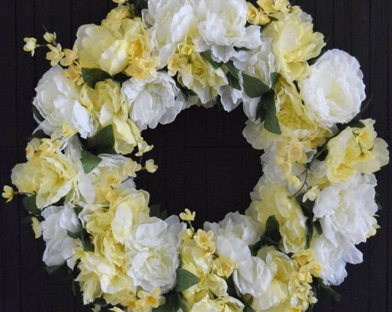 White and Yellow Spring Peony Wreath - Ready to Ship