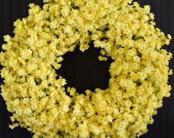Yellow Ruffle Flower Front Door Wreath