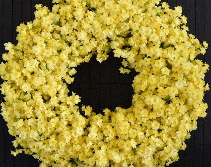 Yellow Ruffle Flower Front Door Wreath