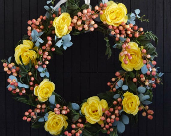 French Country Spring Berry and Floral Wreath