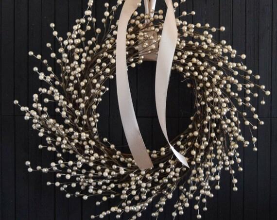 Champagne Pearl Berry Front Door Wreath