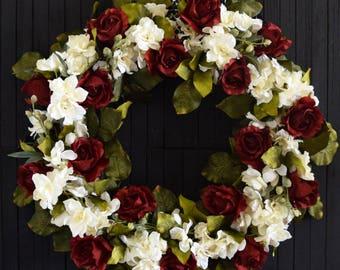 Rose and Delphinium Wreath