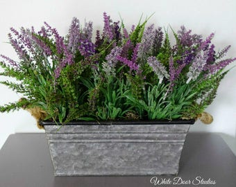 Artificial Lavender Centerpiece in Metal Planter - Farmhouse Decor