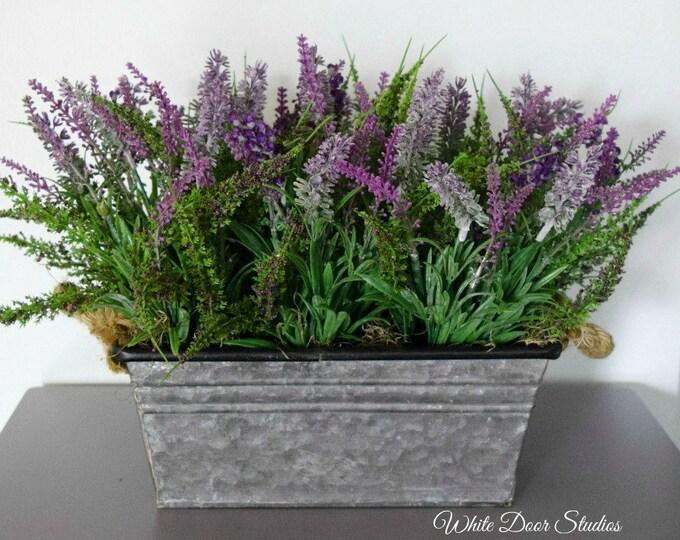 Artificial Lavender Centerpiece in Metal Planter - Farmhouse Decor