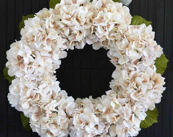 Blush Cream Hydrangea Front Door or Wedding Wreath