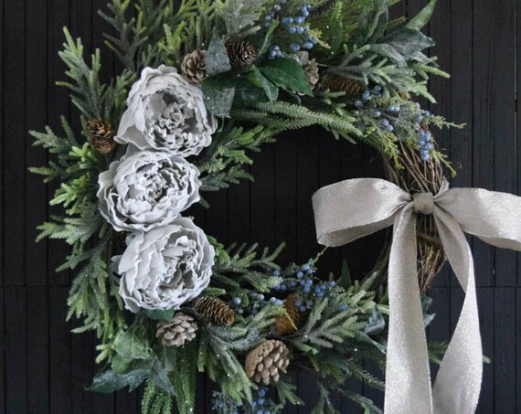 Rustic Woodland Winter Greenery Wreath for Front Door