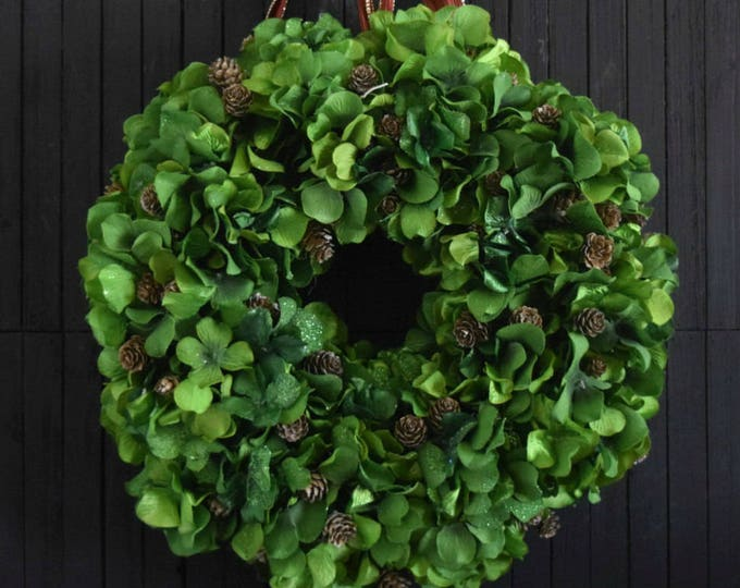 Green Hydrangea Holiday Wreath with Pine Cones