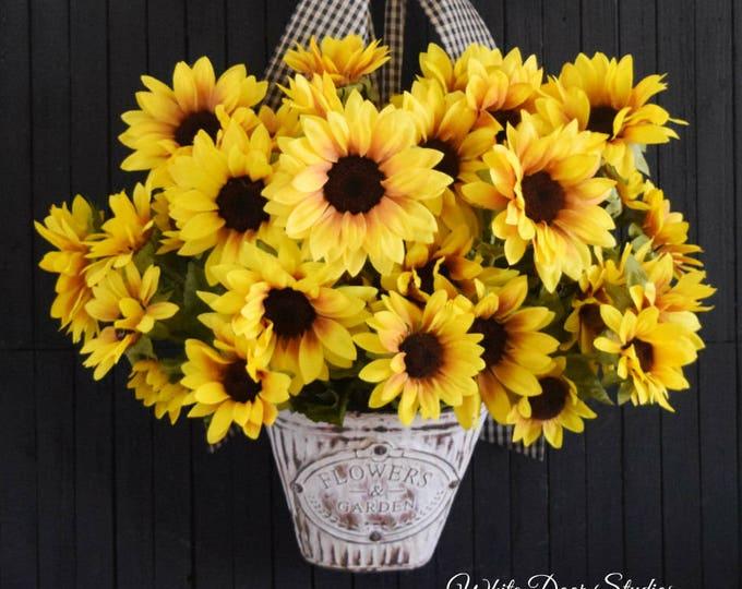 Yellow Sunflower Door Hanger - Spring Summer Autumn Door Wreath