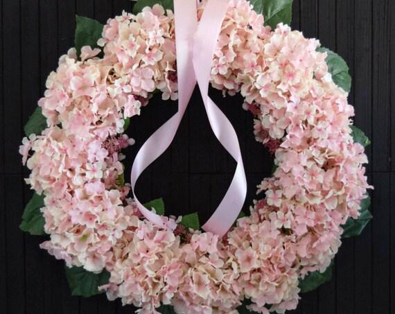 Pink and Cream Blend Hydrangea Front Door Wreath